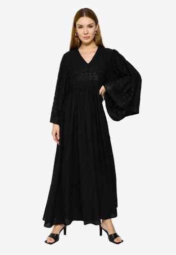 H&M black Embroidered Dress 2A05EAADCBB446GS_1
