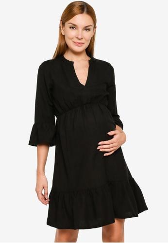Mama.licious black Maternity Chia 3/4 Sleeve Woven Mini Dress BB5A2AA2F866F5GS_1