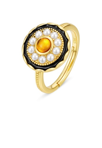 SUNSET gold Premium 925 Sliver Pearl Ring 6FDA8ACDBBDDDEGS_1