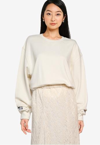 Heather white Plain Oversized Sweatshirt FACEEAA8E236EBGS_1