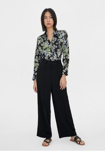 Pomelo black V Neck Floral Wrap Bodysuit - Black 8B417AA1079A6FGS_1