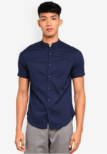 OVS 藍色 短袖印花襯衫 7F5ADAAD0116C4GS_1