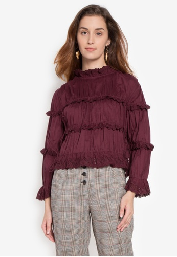 TOPSHOP red Broderie Ruffle High Neck Top TO099AA0KCHHPH_1