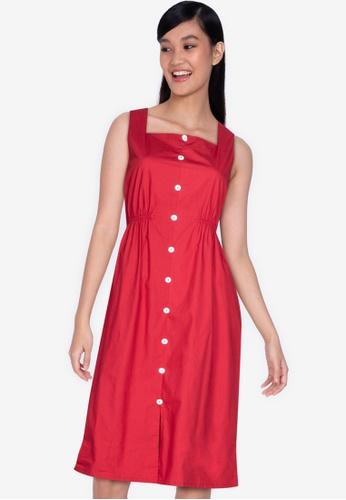 ZALORA BASICS 紅色 Button Down Midi Dress 2BF13AA1E4EA79GS_1
