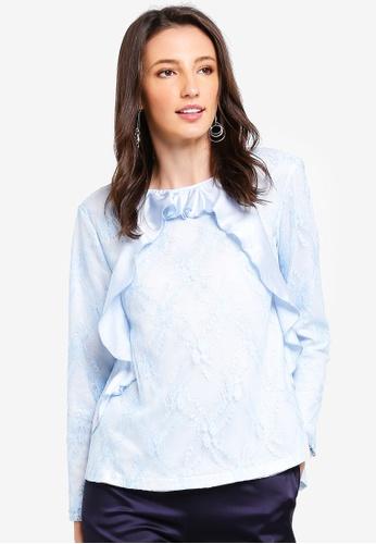 Zalia white and blue Lace Top with Frills 5243DAA8E9945FGS_1