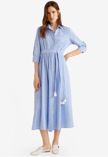 Mango blue Striped Shirt Dress B1980AAF544FFCGS_1