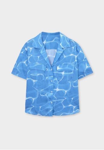 Pomelo blue Watercolor Print Short Sleeve Shirt - Blue 7DFB6AA9FB4B08GS_1