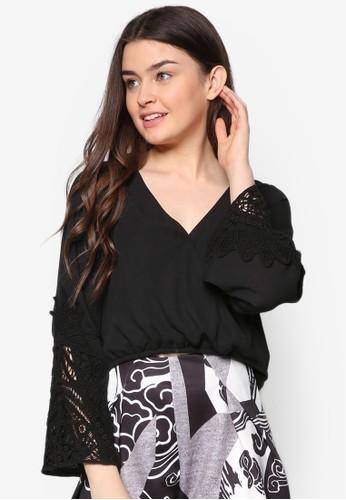 裹飾zalora時尚購物網評價鉤針長袖上衣, 服飾, 短上衣