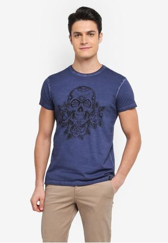 Indicode Jeans 海軍藍色 短袖圖案印花T恤 1A39AAA210C58EGS_1