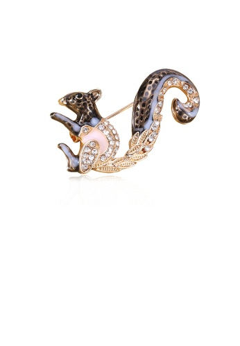 Glamorousky white Fashion Simple Plated Gold Squirrel Brooch with Cubic Zirconia 02009AC57F0655GS_1