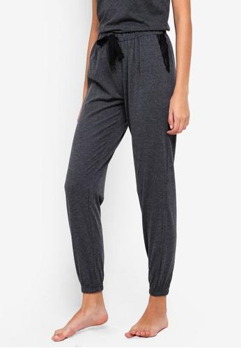 Dorothy Perkins grey Grey Lace Trim Jogger Pants 9C9E4AAD60C27AGS_1