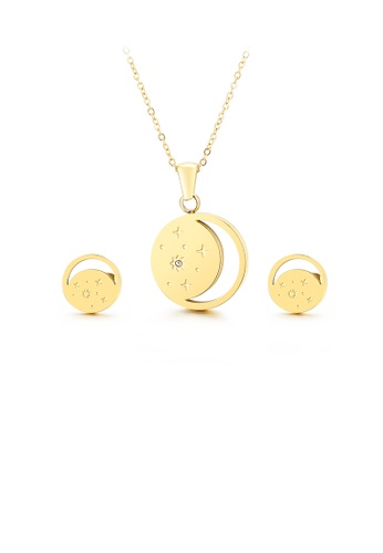 Glamorousky silver Fashion Temperament Plated Gold Geometric Round Moon Star 316L Stainless Steel Necklace and Stud Earring Set 1249BAC219BD47GS_1