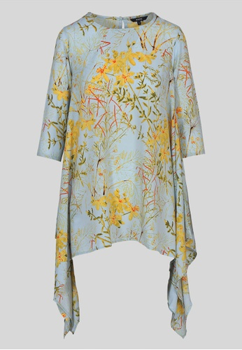 Le Reve yellow and blue Le Reve Powder Asymetric Blue Blouse C4698AAB8183EAGS_1