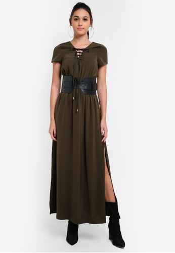 Something Borrowed green Faux Leather Belted Maxi Dress D67EAAAC1A226CGS_1