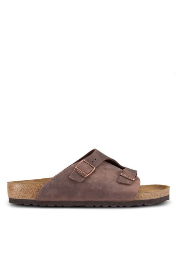 Birkenstock brown Zürich Oiled Leather Sandals BI090SH0UCZVID_1