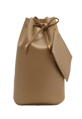 Lara brown Women's Soft PU Leather Drawstring Bucket Bag Backpack - Brown 0B0FEAC7ED06A8GS_1