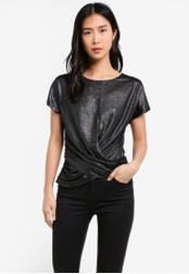 WAREHOUSE silver Lame Knot Front Top WA653AA0S4PRMY_1