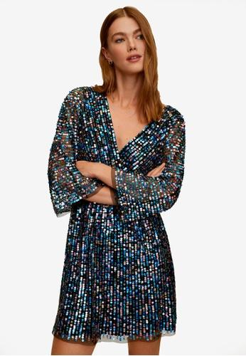 Mango black Sequin Wrap Dress 2C4D7AAB59DACEGS_1