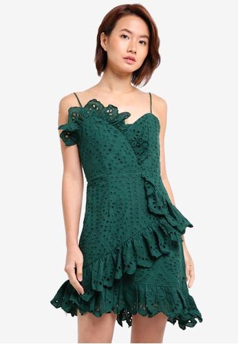 INDIKAH green Lace Ruffle Hem Mini Dress 4A181AAED0995EGS_1