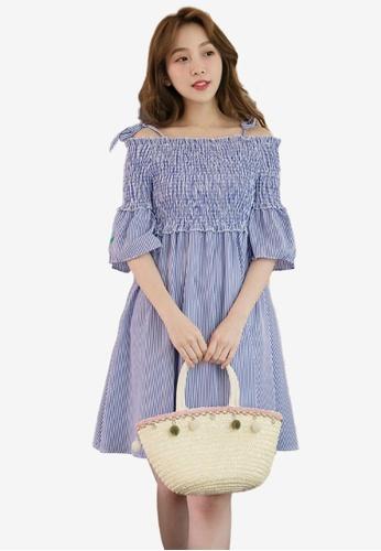 Eyescream blue Summer Fruit Embroidered Off-Shoulder Striped Dress 53B4AAA1856B52GS_1