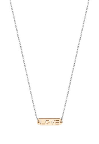 Esprit gold ESPRIT [Label] Two-Tone Silver & RoseGold Stainless Steel Necklace (40 cm + 3 cm extension) 34F4DAC8F9ED02GS_1