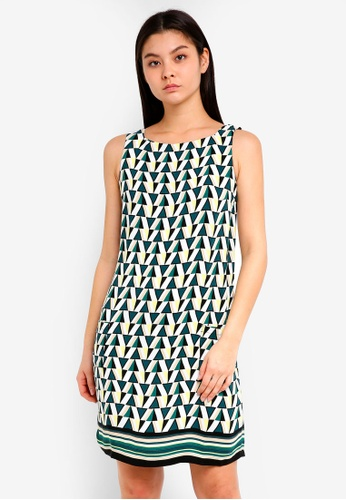 Dorothy Perkins green Green Geometric Border Shift Dress BB05AAA9597271GS_1