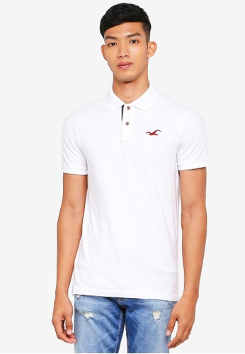 Hollister white Core Exploded Icon Solid Polo Shirt 0DA88AACD36F2AGS_1