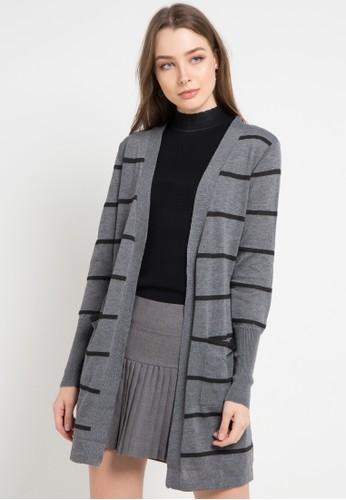 Peponi multi and grey Stripe Long Cardigan 03365AA6109415GS_1