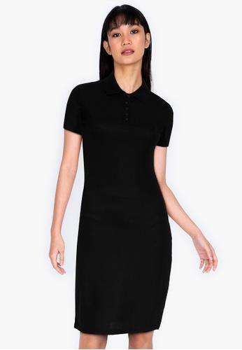 ZALORA BASICS black Collared Bodycon Dress D0809AA52A493FGS_1