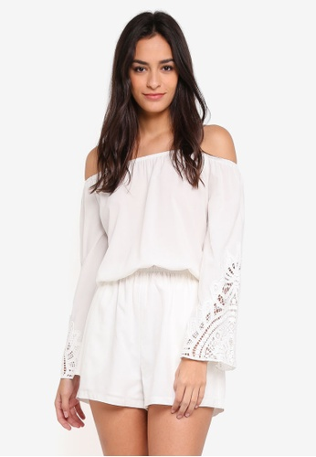 Something Borrowed white Lace Panel Off Shoulder Romper 18F9DAA2768963GS_1