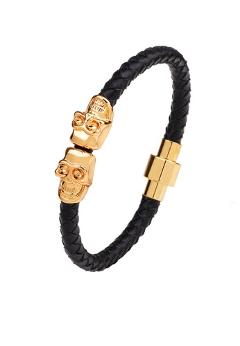 HAPPY FRIDAYS Skull Magnetic Buckled Leather Bracelet QNW2281 217F9AC872C9AFGS_1