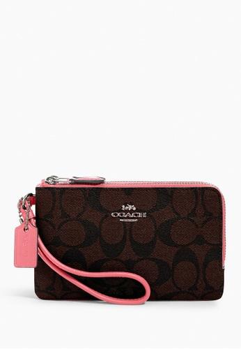 COACH brown Coach Signature Small Corner Double Zip Wristlet - Brown/Pink Lemonade 42278ACEE42E22GS_1