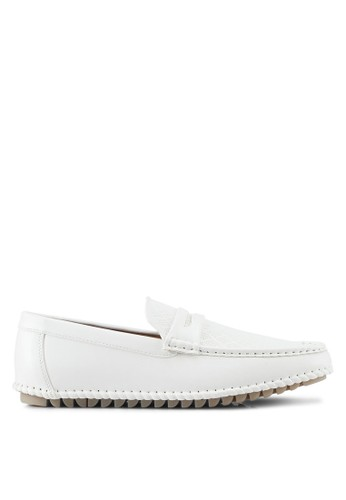 ZALORA white Faux Leather Perforated Classic Loafers 11E78SH69237EDGS_1