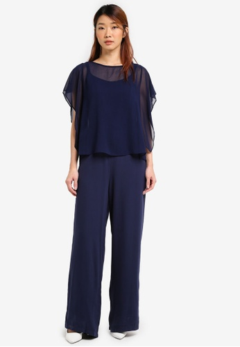 Dorothy Perkins blue and navy Overlay Jumpsuit DO816AA0SRD4MY_1