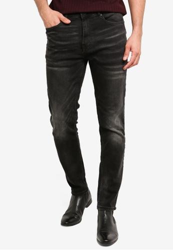 Burton Menswear London 黑色 錐形剪裁牛仔褲 D0230AA88D3385GS_1