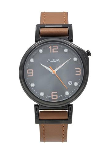 Alba brown ALBA Jam Tangan Wanita - Brown Black - Leather Strap - AG8J21 0933DACA4E4DF1GS_1
