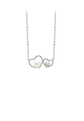 Glamorousky white 925 Sterling Silver Simple Romantic Double Heart-shaped Freshwater Pearl Pendant with Necklace 16B98ACB962FC9GS_1