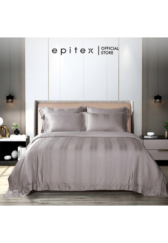 Epitex brown Epitex Aqualine Collection AQ3310 1600TC Dobby Bedsheet - Fitted (w quilt cover) - (Mauve) 10512HLA8BF86CGS_1