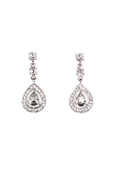 Paris Bijoux LE10023A Earrings Rhodium Plated - Crystal