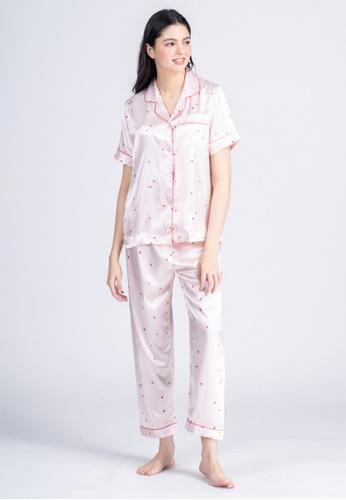 FEMINISM pink Silk Shortsleeve Pajama 874C7AA8BCA880GS_1