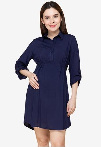 MOTHER 2 BE blue Ismael 3/4 Sleeves Maternity Dress 59C7EAAFC2C3E9GS_1