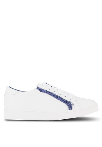 Something Borrowed white Fringed Lace Up Trainers 5EB1ESH581BC7DGS_1
