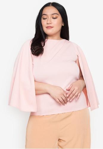 Timeless Manila pink Plus Size Cassandra Cape Blouse E3105AA14943DCGS_1