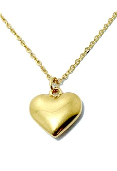 Stainless Steel Puffy Heart Necklace