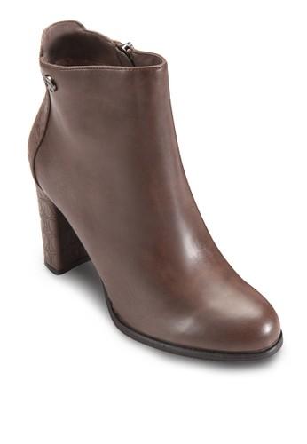 側拉鍊粗zalora鞋跟高跟短靴, 女鞋, 鞋