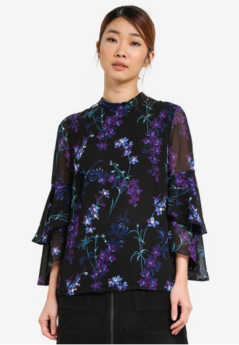 WAREHOUSE black Gilly Floral Tiered Sleeve Top WA653AA0SHKZMY_1