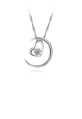 Glamorousky white 925 Sterling Silver Heart Shape & Moon Pendant with 45cm Necklace 6996DAC227C65AGS_1