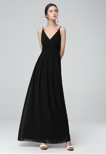 London Rag black Black Spaghetti V- Neck Chiffon Maxi Dress 1EA05AA2719B67GS_1