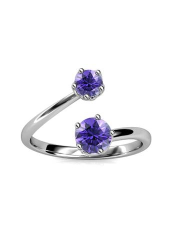 Her Jewellery silver Birth Stone Ring February Amethyst WG - Cincin Crystal Swarovski by Her Jewellery E2DE5ACA0CA5E6GS_1
