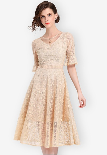 Sunnydaysweety beige S/S Lace See Through Flared One Piece Dress 4E60DAAF2C7DB5GS_1